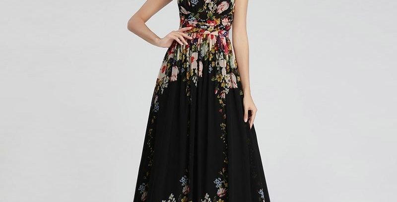 Floral Printed Bridesmaid Dresses A-Line V-Neck Sleeveless Ever Pretty Chiffon