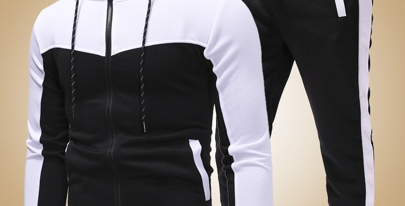 Men Set Zipper Hoodies+Pants Sets Slim Fit