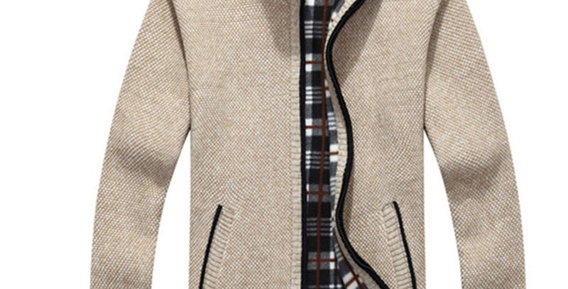 Mens Fleece Warm Cashmere Slim Fat Wool Zipper