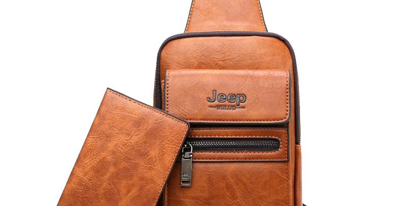 JEEP BULUO High Quality Men Chest Bags Split Leather Large Size