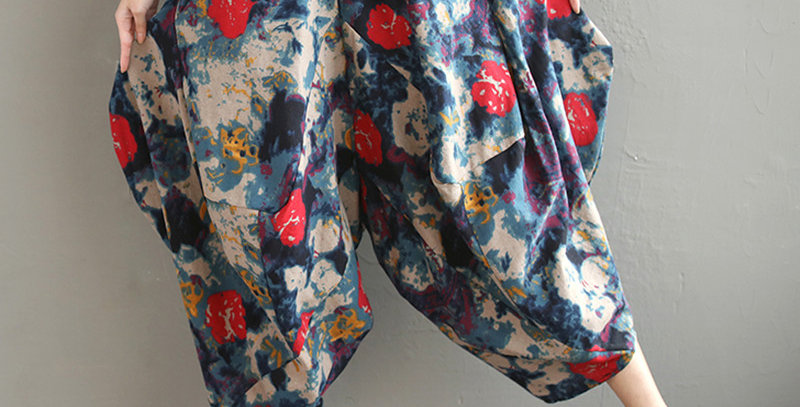 Pants Women Loose Elastic Waist Cotton Linen