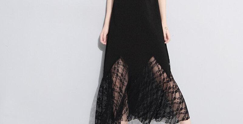 Short Sleeve Lace Hollow Cotton Dress