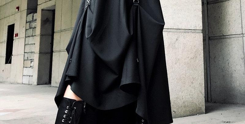 Irregular Ring Cross Two Wear Black Women's Skirt