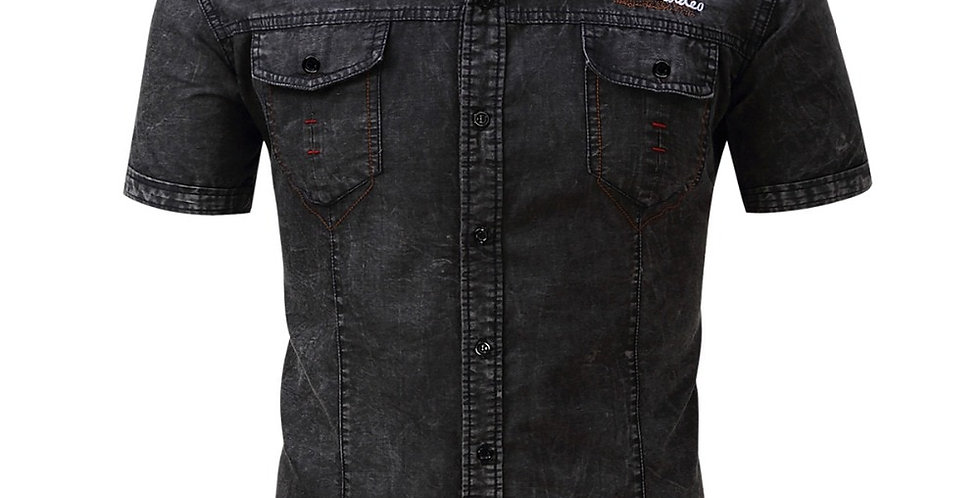 FREDD MARSHALL Men Short Sleeve Denim Shirt