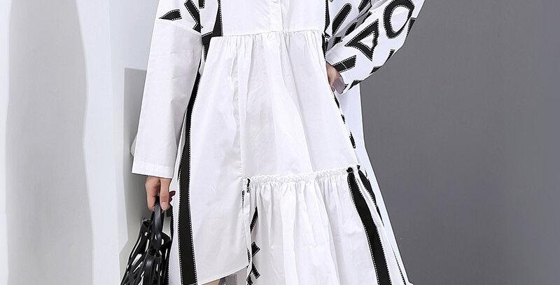 Geometrical Patterns Printed White Shirt Dress