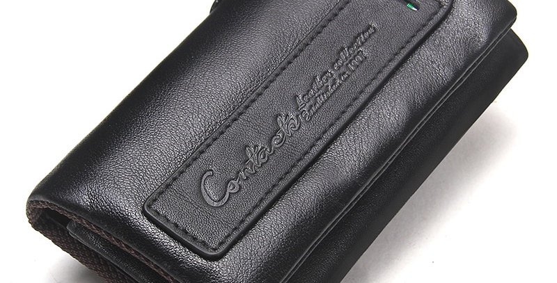 CONTACT'S Genuine Leather Men Key Wallet Small Male Purse