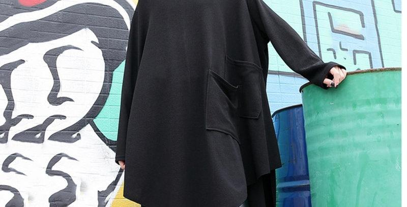 Black Loose Irregular Dress O-Neck