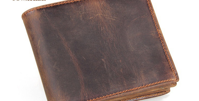 100% Top Quality Cow Genuine Leather Men Wallets