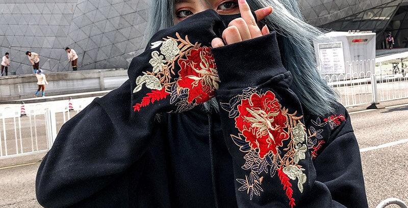 Men Hip Hop Hoodie Sweatshirt Embroidered Floral Full Moon Rabbit