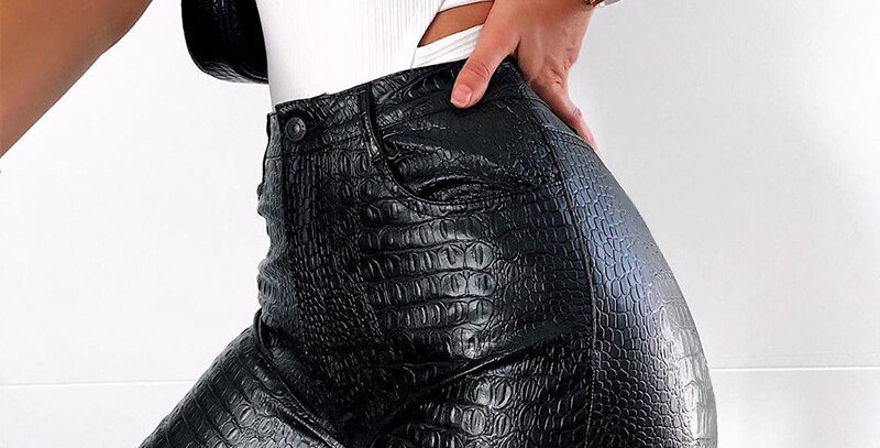 Faux Leather Pants Women