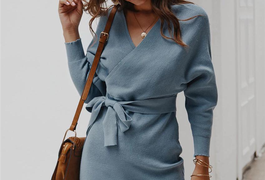 Sweater Dress Women V-Neck Batwing Sleeve
