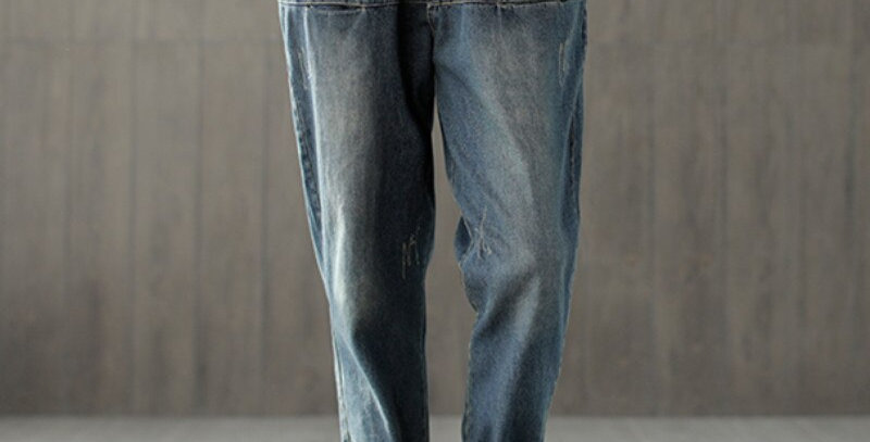 Johnature Cotton Waist Elastic Casual Pockets Denim Jeans