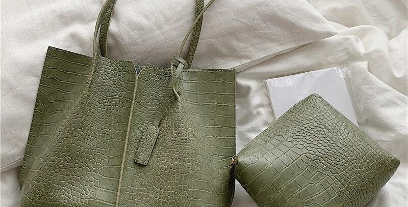 Crocodile Women Shoulder Bags 2 Sets