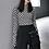 Thumbnail: Black & White Checkered Mesh Top Long Sleeve Mock Neck Cropped