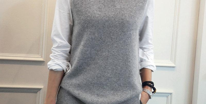 DSANNIGNT Cashmere Vest Women Turn-Down Collar Sleeveless Knitted Vest Plus Size