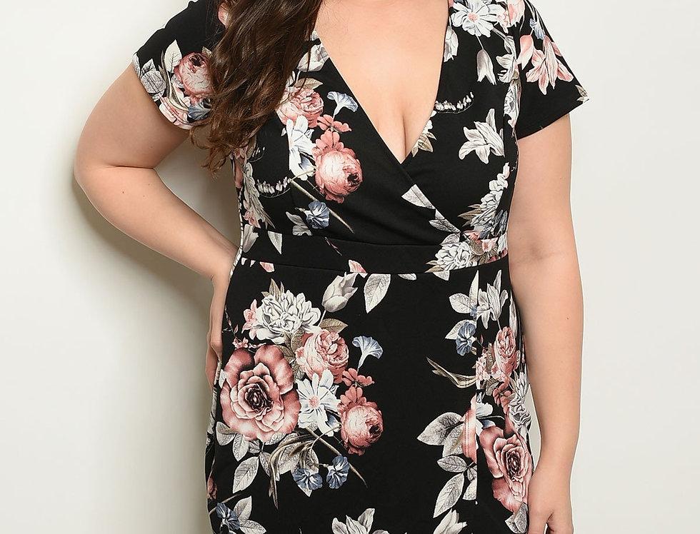 Black Floral Plus Size Dress