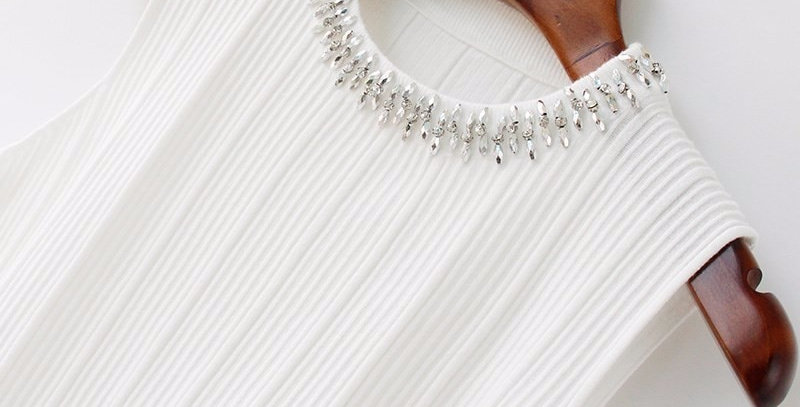 Beading Diamonds Knitted Tank Tops