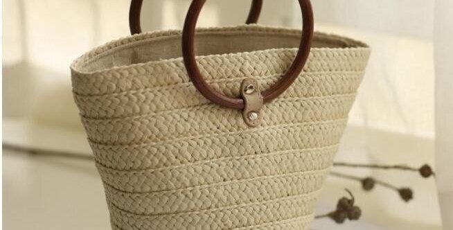 Beach Straw Bag Drawstring Tote Handbags
