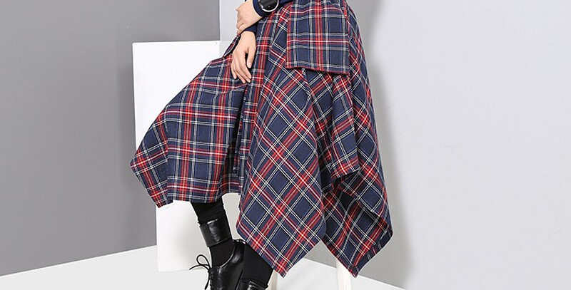 Asymmetrical Skirt & Sashes Printed High Waist
