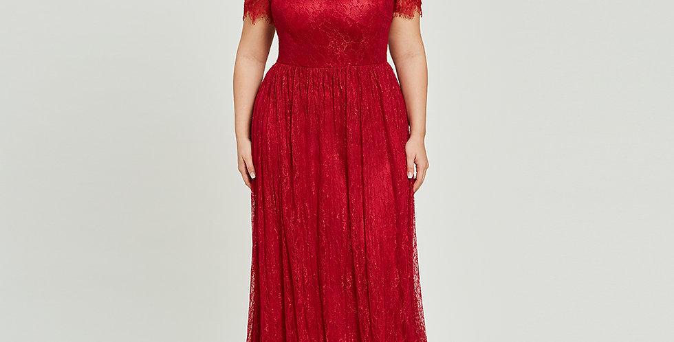 Burgundy Scoop Neck Plus Size Evening Dress Elegant a Line Short Sleeves