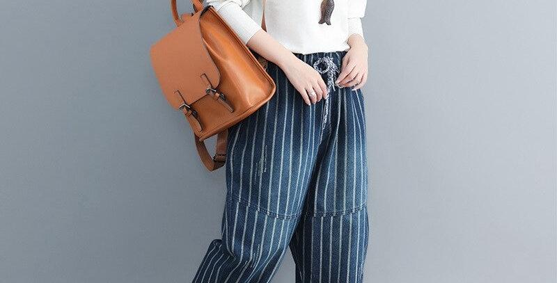 Blue Striped Denim Harem Pants Women Plus Size