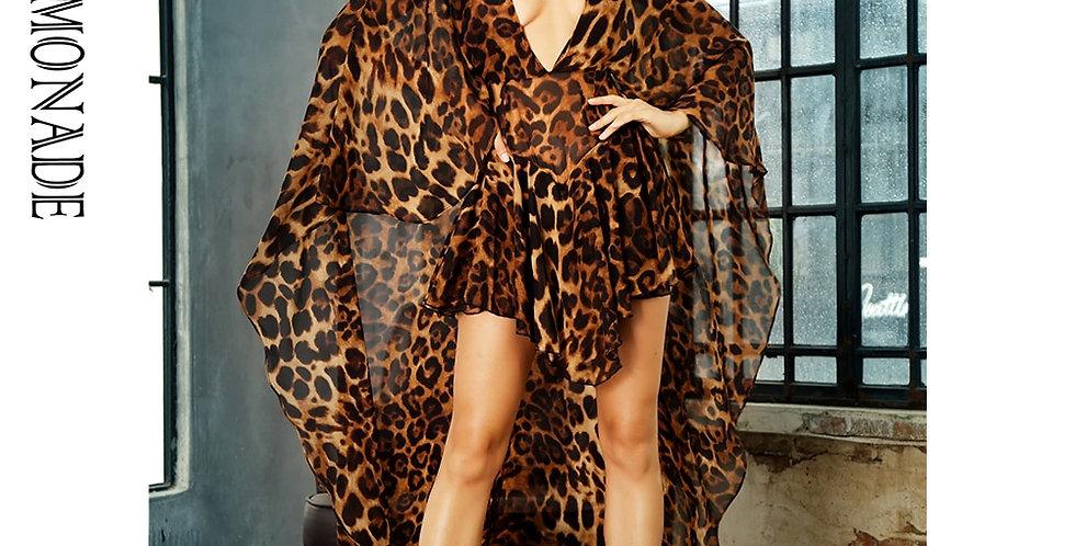 LOVE&LEMONADE  Deep V-Neck Open Back Cloak Style Leopard Chiffon