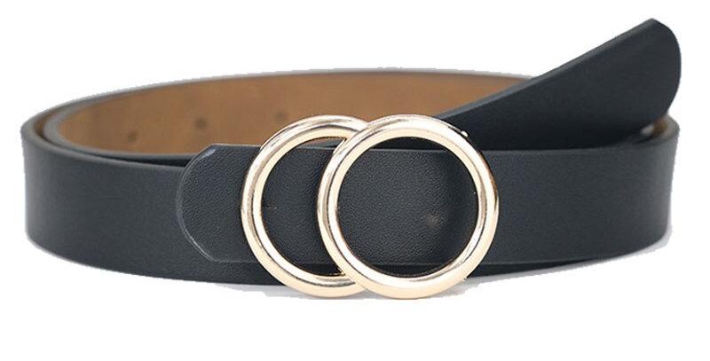 MaiKun Belts for Women Female Double Ring Buckle Leather