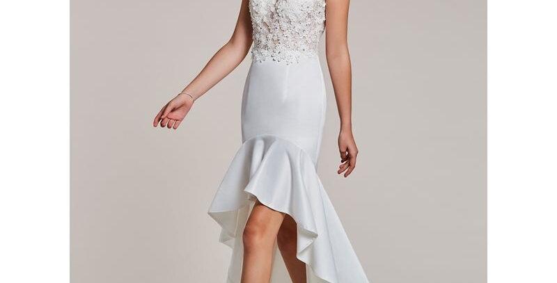 Asymmetry Evening Dress White Appliques Cap Sleeves Dress Women Party Scoop Neck