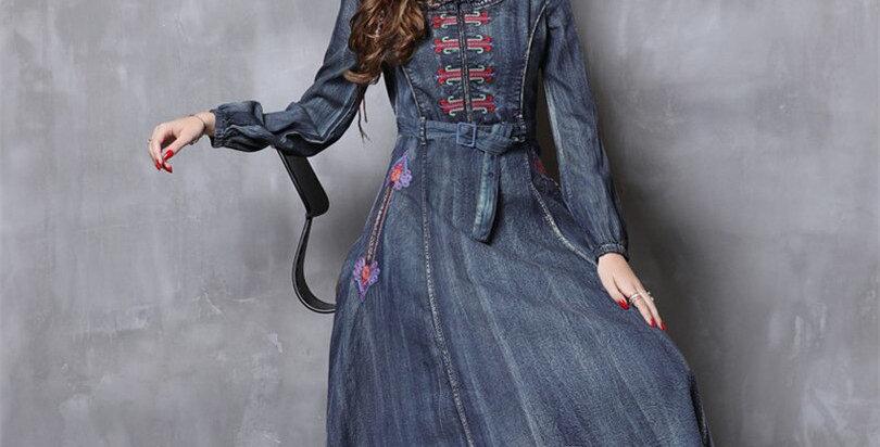 Women Denim Dress Vintage Cotton