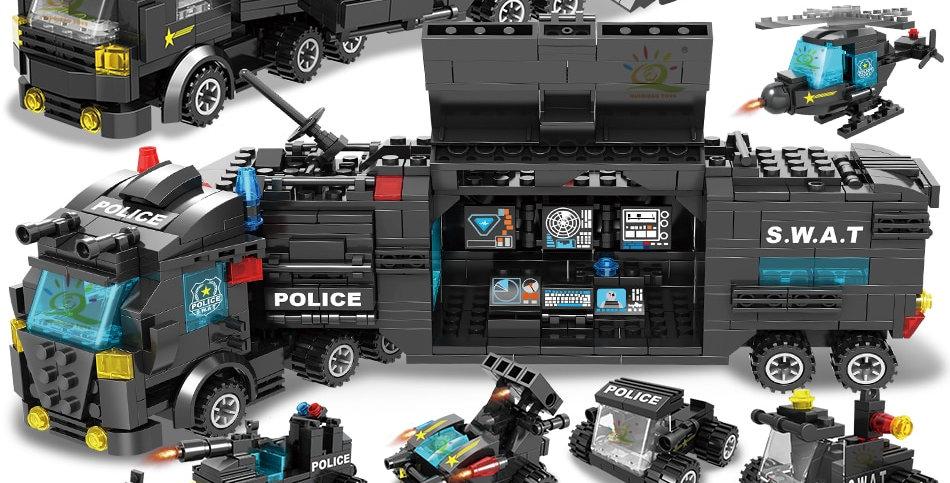 HUIQIBAO SWAT Police Station Truck Model