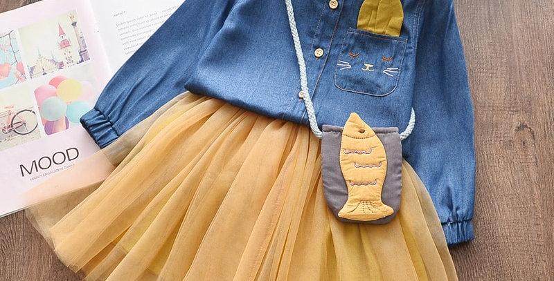 Denim T-Shirt Mesh Skirt 2Pcs 3T-7