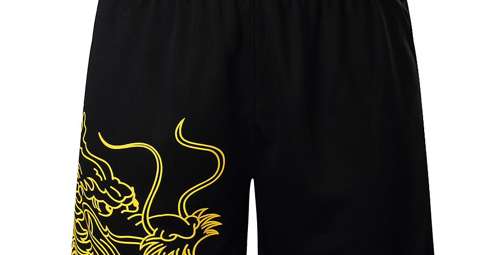 Dragon Black Shorts Men's Table Tennis Training Shorts With Pocket