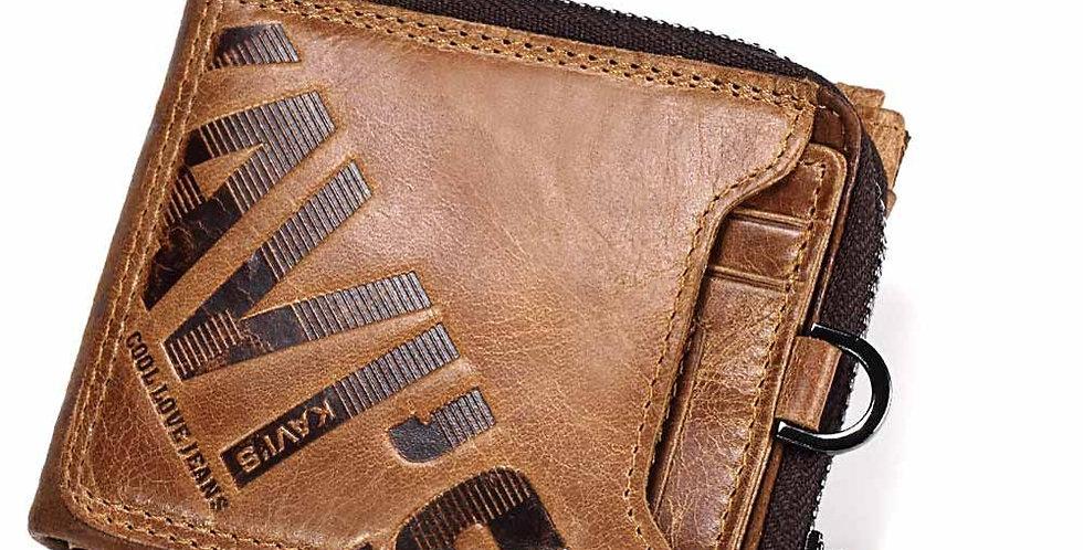 KAVIS Crazy Horse Genuine Leather Wallet Men
