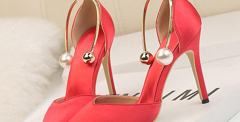 Metal Ring Single Thin Heels Shoes