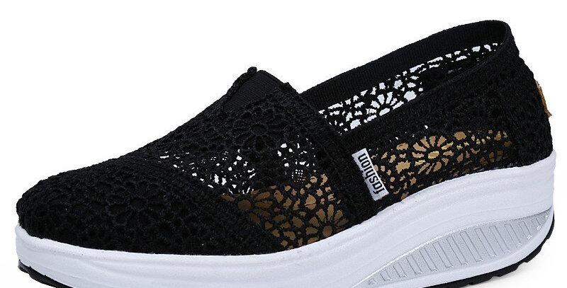 Platform Shoes Hollow Lace Shallow Flat Shoes