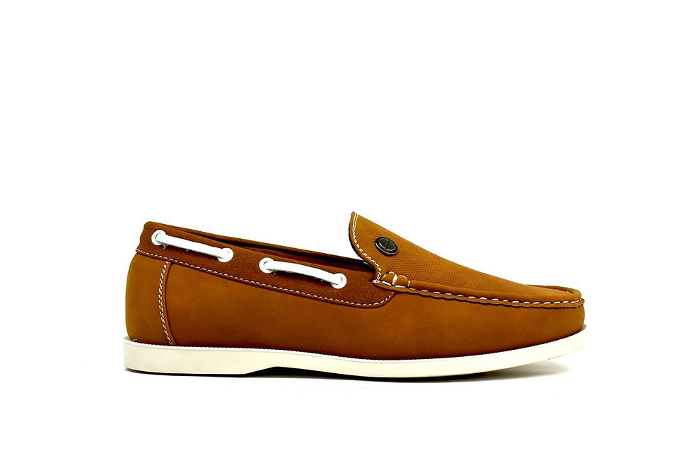 Emblem Boat Shoes Tan