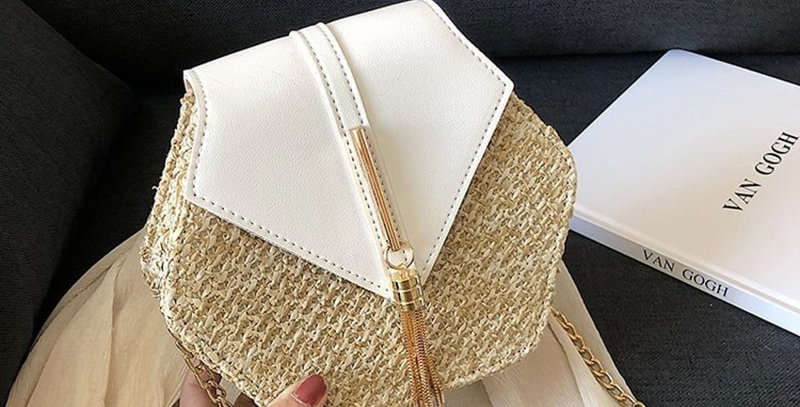 Hexagon Straw Leather Handbag