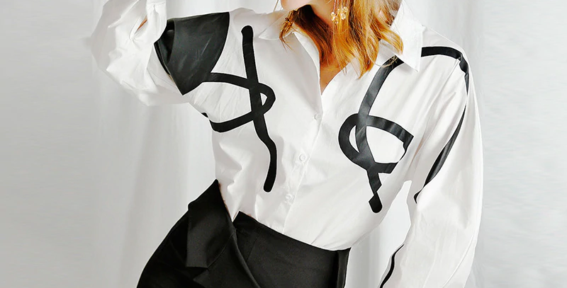 Lapel Long Lantern Sleeve Loose Shirt