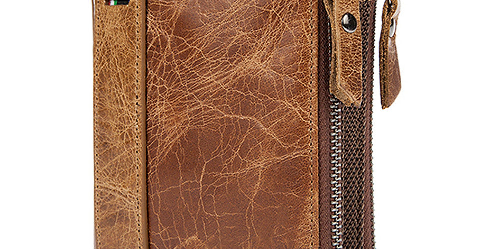 Crazy Horse Genuine Leather Men Wallets Short Credit Business Card  Carteira
