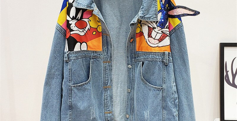 Women Denim Jacket Cartoon Print Sequin Jeans Jacket