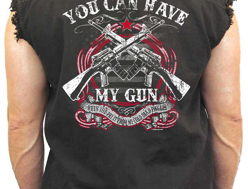 Men's Sleeveless Denim Shirt You Can Have My Gun Biker