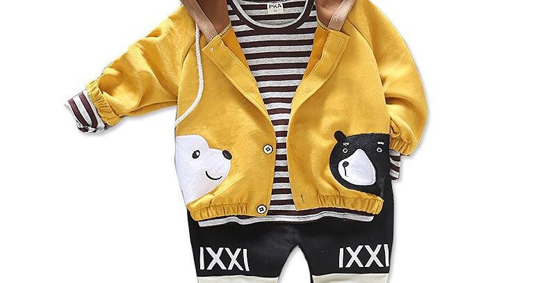 Cotton Jacket Stripe T-Shirt Pants 3Pcs/Set 0M-4T