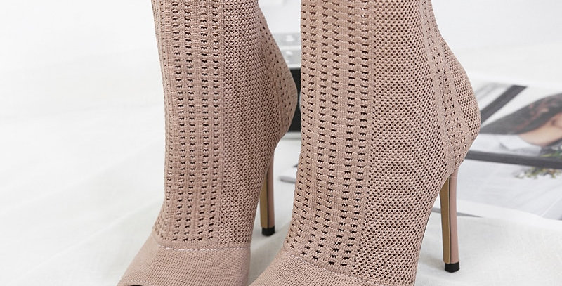 Stretch Fabrics Stiletto Solid Color Women's Ankle Boots High Heels
