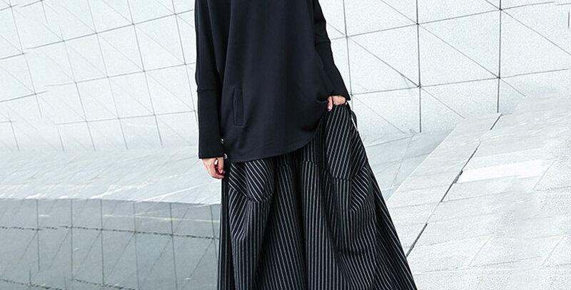 High Elastic Waist Black Striped Big Pocket