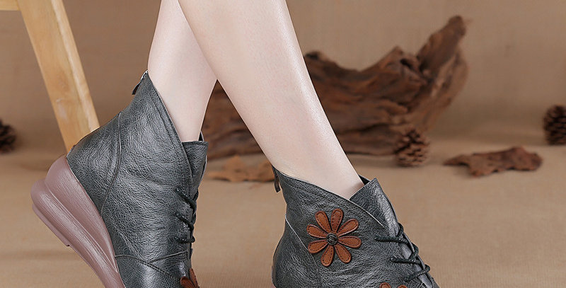 100% Genuine Leather Wedge Heel Ankle Boots