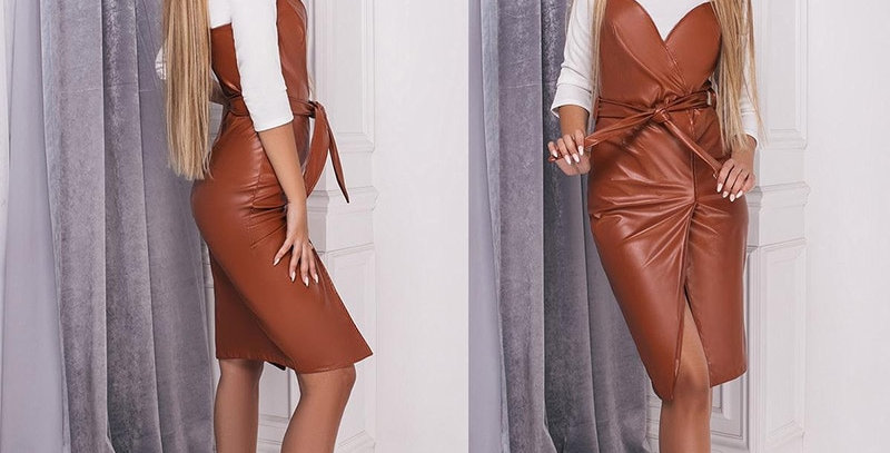 Pu Leather Party Dress