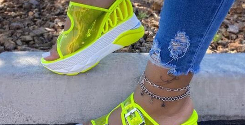 Women Wedge Sandals PVC Transparent Buckle Strap