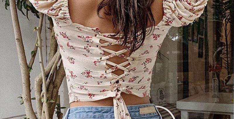 Aproms Back Lace Up Cropped Blouse Women Slim Crop Top Floral Print