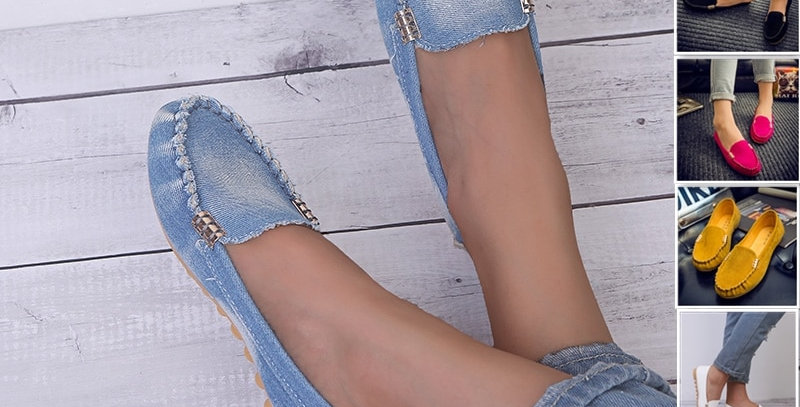 Women Casual  Flat Loafer Jeans Shoes Plus Size