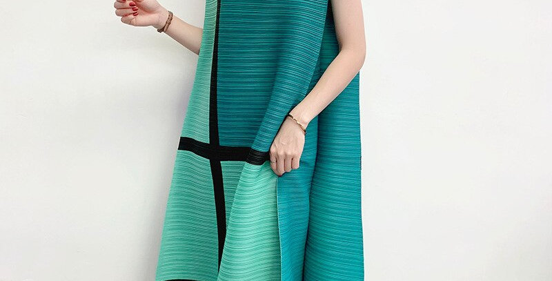 Patchwork Pleated Dresses Famale